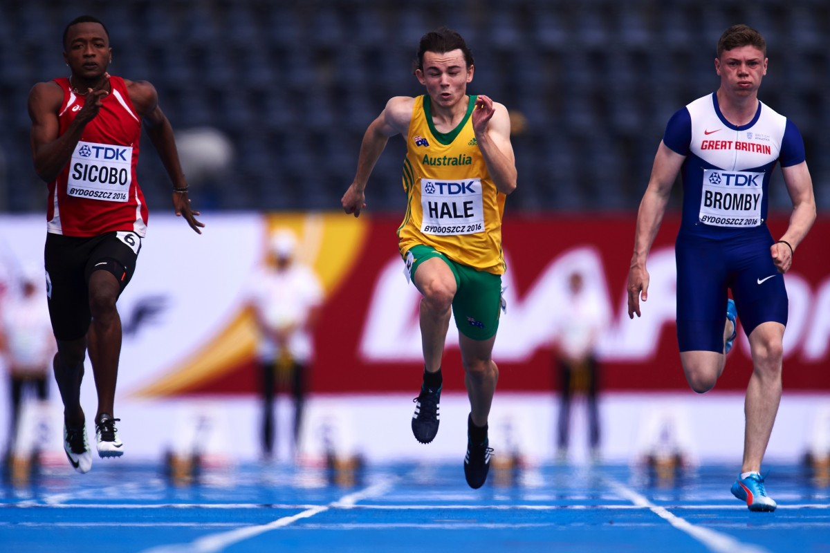 BYDGOSZCZ, POLAND - JULY 19: (L-R) Dyland Sicobo from Seychelles and Jack Hale from Australia and Oliver Bromby from Great Britain compete in men's 100 meters qualification during the IAAF World U20 Championships - Day 1 at Zawisza Stadium on July 19, 2016 in Bydgoszcz, Poland. (Photo by Adam Nurkiewicz/Getty Images for IAAF)