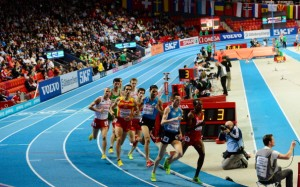 Athletes compete in the Men's1500m Final at the European Indoor Athletics Championships in Gothenburg, Sweden, on March 3, 2013. AFP PHOTO / JONATHAN NACKSTRAND        (Photo credit should read JONATHAN NACKSTRAND/AFP/Getty Images)