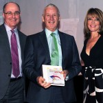 David / T&FT with 2014 Official of the Year Dave Holder and Wendy Sly of England Athletics