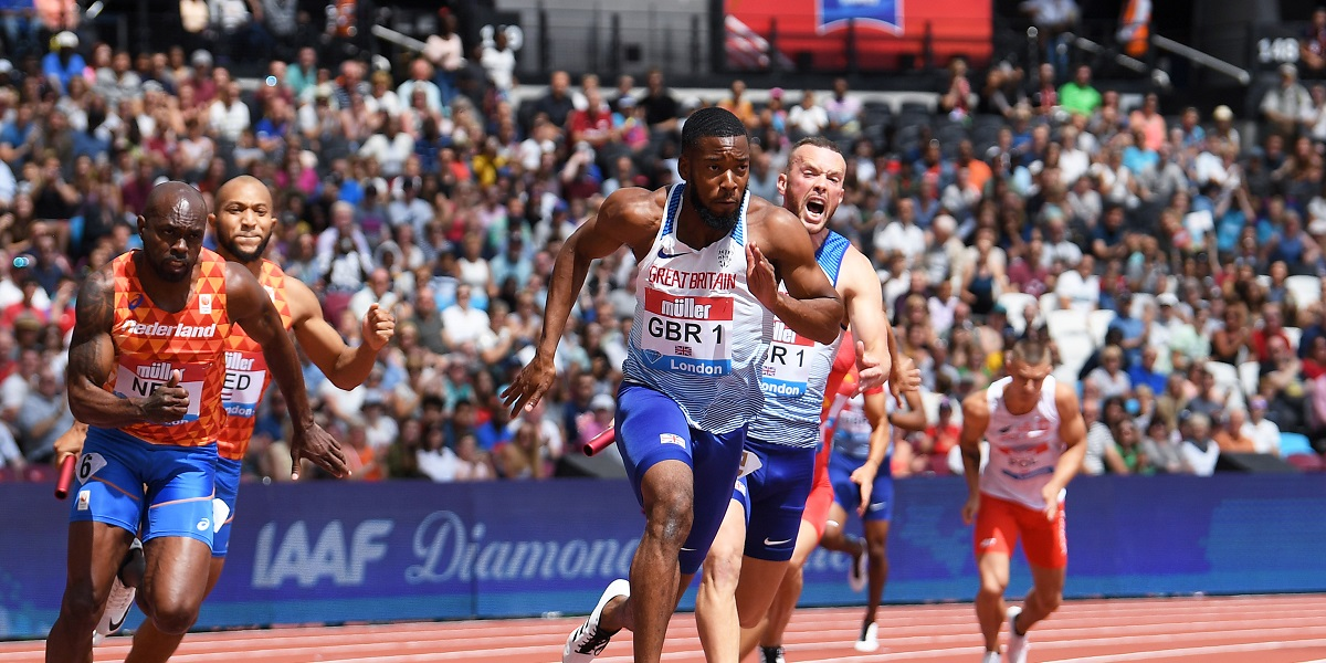 LONDON, ENGLAND - JULY 21: Nethaneel Mitchell-Blake of Great Britain takes the baton on the last leg during the Men's 4x100m Relay during Day Two of the Muller Anniversary Games IAAF Diamond League event at the London Stadium on July 21, 2019 in London, England. (Photo by Mike Hewitt/Getty Images)