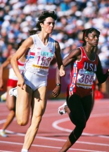 Athletics - 1984 Los Angeles Olympics - Women's 400 metres Final Great Britain's Kathy Cook (nee Smallwood) and the USA's Valerie Brisco-Hooks during the final in the Los Angeles Memorial Coliseum, USA. Brisco-Hooks won the gold and Cook took the silver.