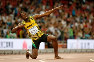 BEIJING, CHINA - AUGUST 27:  Usain Bolt of Jamaica celebrates after winning gold in the Men's 200 metres final during day six of the 15th IAAF World Athletics Championships Beijing 2015 at Beijing National Stadium on August 27, 2015 in Beijing, China.  (Photo by Christian Petersen/Getty Images for IAAF)